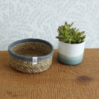 Shallow Seagrass & Jute Basket - Small - Natural/Grey - in Use