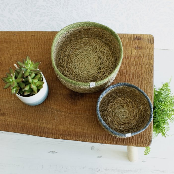 Shallow Seagrass & Jute Baskets - from above