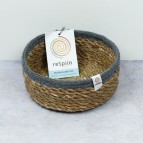 Shallow Seagrass & Jute Basket - Small - Natural/Grey - with packaging