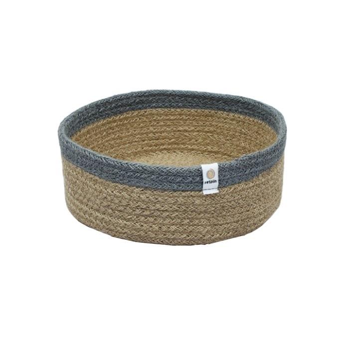 Shallow Jute Basket - Medium - Natural/Grey
