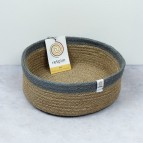 Shallow Jute Basket - Medium - Natural/Grey - with packaging