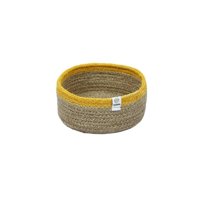 Shallow Jute Basket - Small - Natural/Yellow