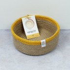 Shallow Jute Basket - Small - Natural/Yellow - with packaging