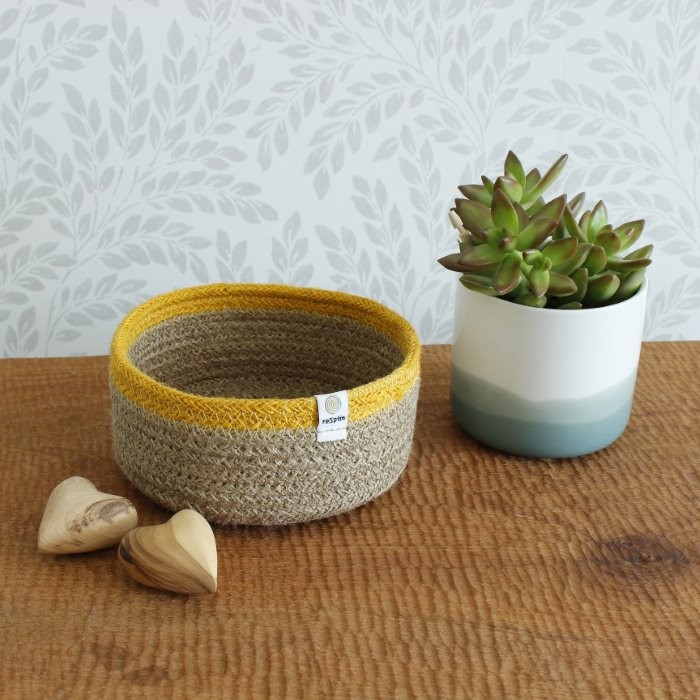 Shallow Jute Basket - Small - Natural/Yellow - in Use