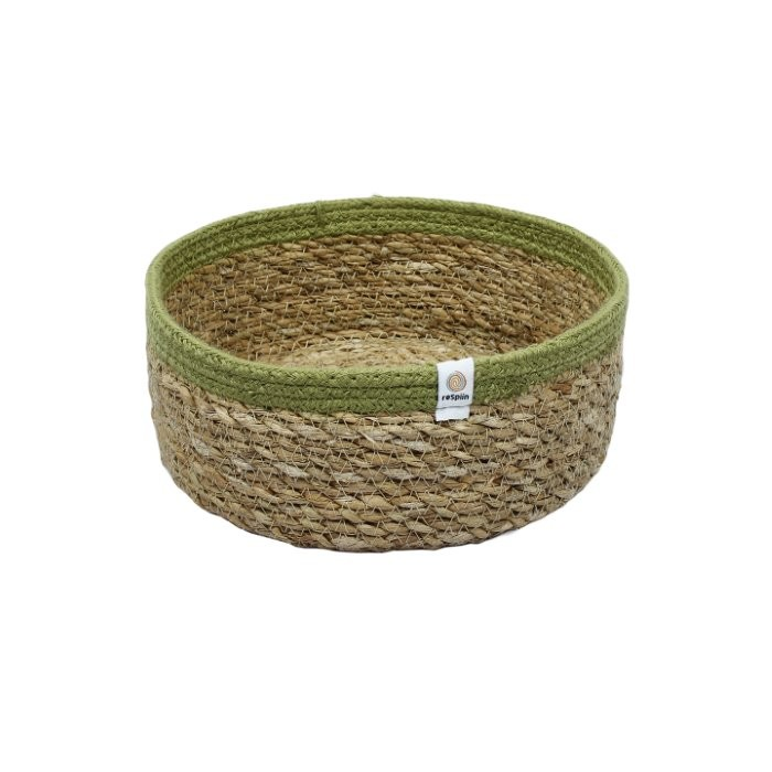 Shallow Seagrass & Jute Basket - Medium - Natural/Green