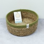 Shallow Seagrass & Jute Basket - Medium - Natural/Green - with packaging