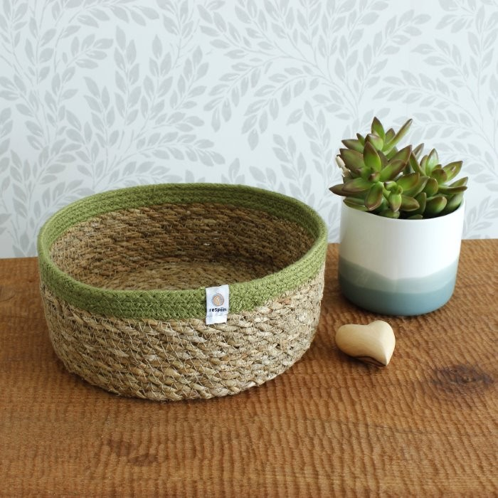 Shallow Seagrass & Jute Basket - Medium - Natural/Green - in Use