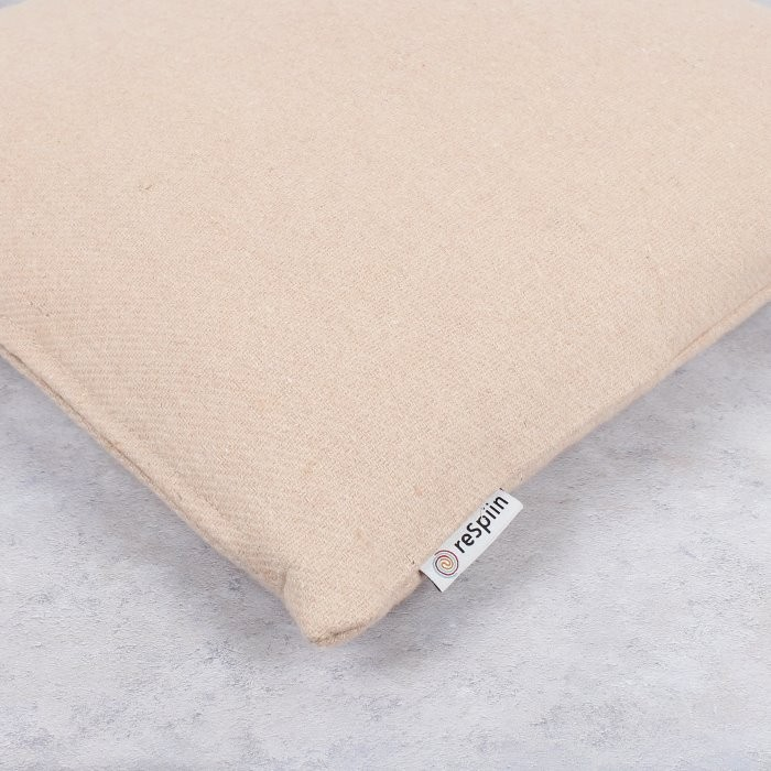 Plain Square Wool Cushion Cover with pad - Dusty Pink - Label Close-Up