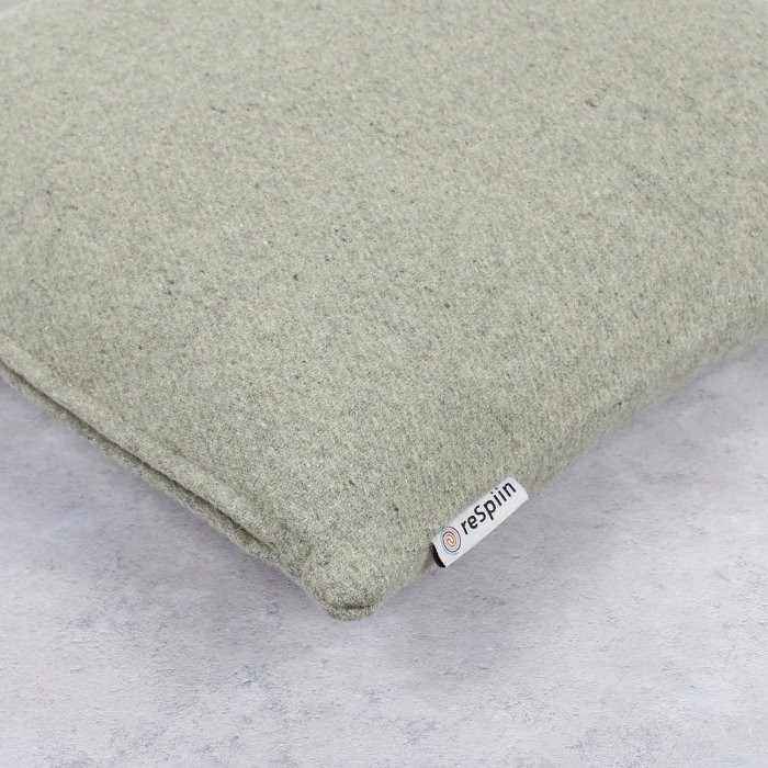 Plain Square Wool Cushion Cover with pad - Light Grey - Label Close-Up