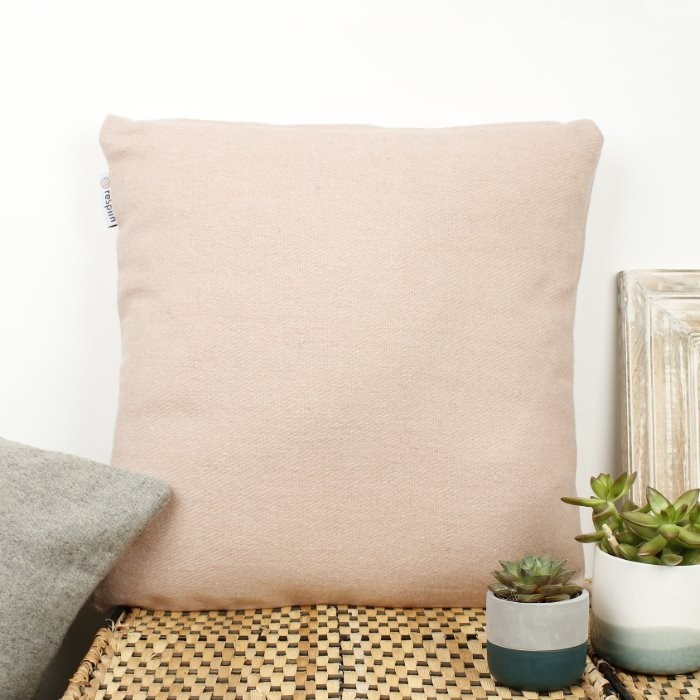 Plain Square Wool Cushion Cover with pad - Dusty Pink
