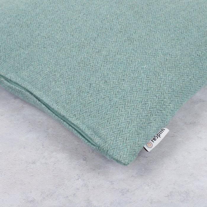 Plain Square Wool Cushion Cover with pad - Aqua - Label Close-Up