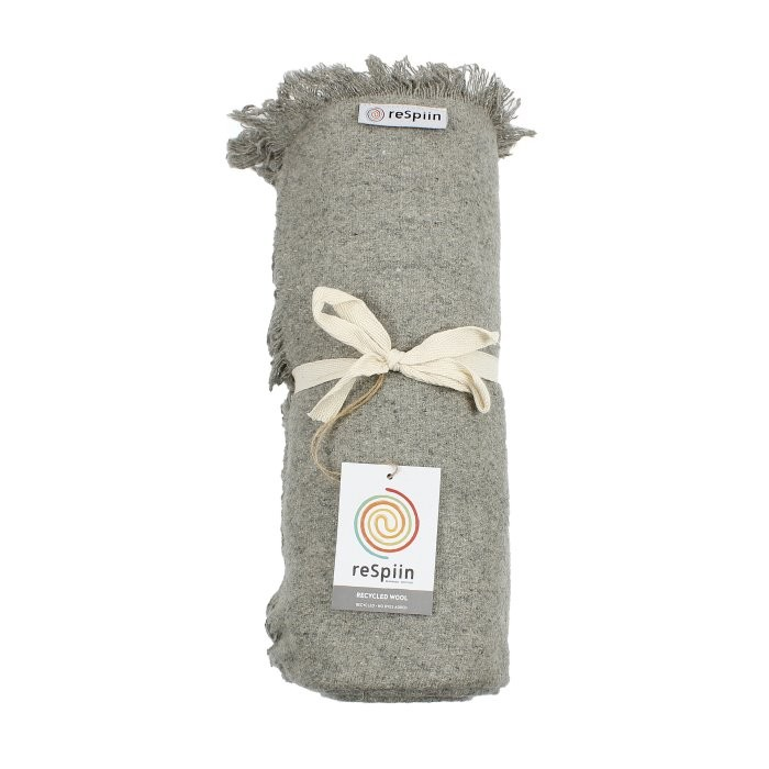Plain Wool Throw with Fringe - Light Grey