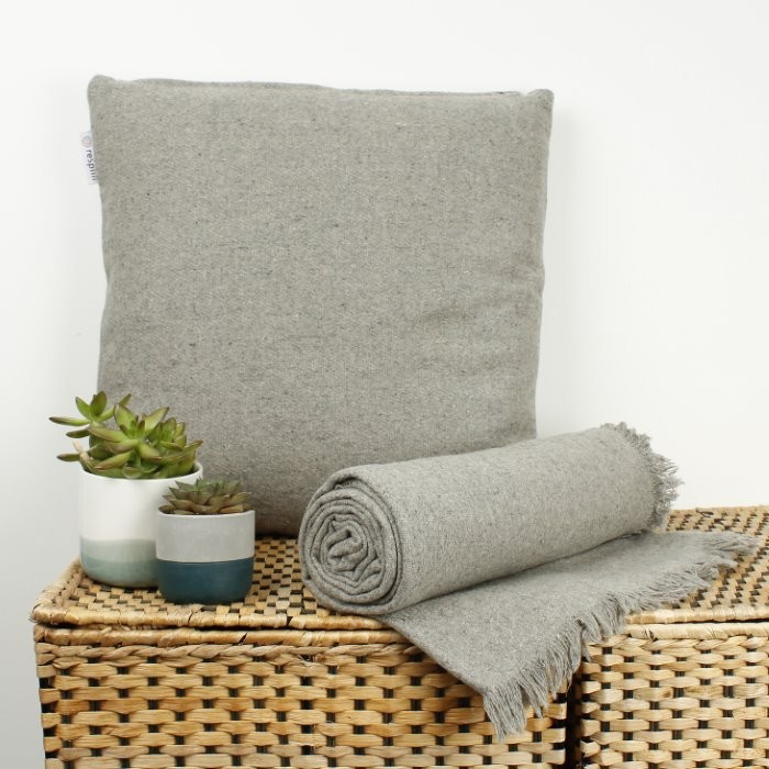 Plain Wool Throw with Fringe with Wool Cushion - Light Grey