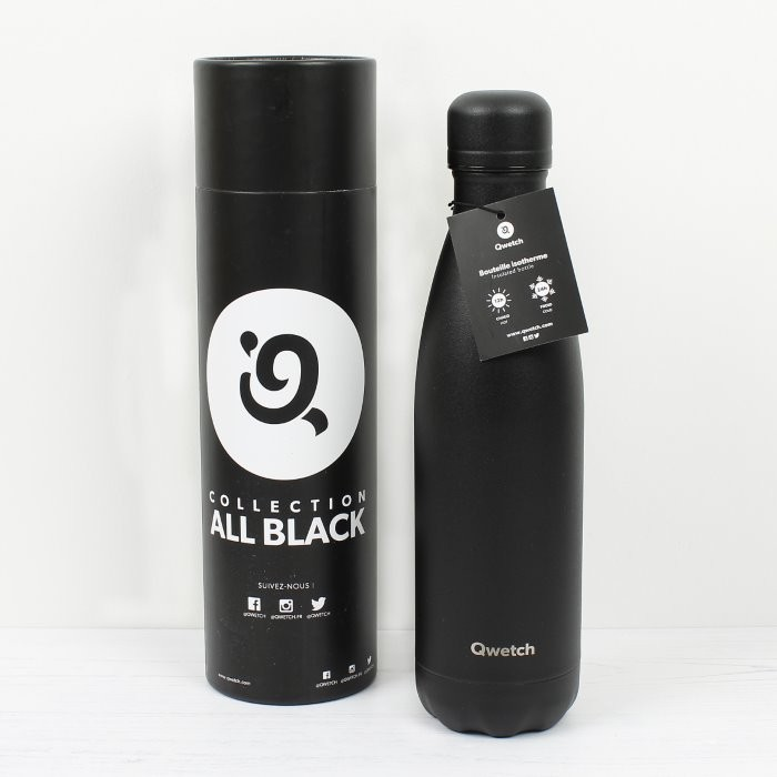 Insulated Stainless Steel Bottle - All Black - 500ml - in packaging