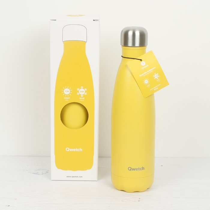 Insulated Stainless Steel Bottle - Pop Yellow - 500ml - in packaging