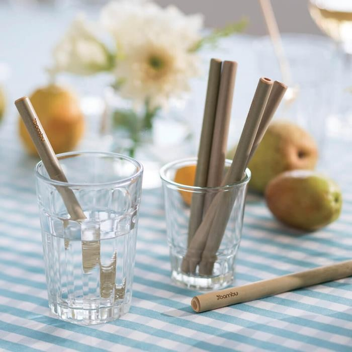 Short Bamboo Straws - Set of 6 with Brush - in Use