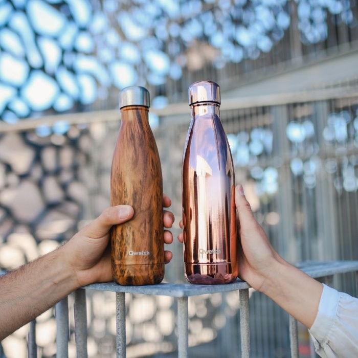 Insulated Stainless Steel Bottle - Wood & Rose Gold - 500ml