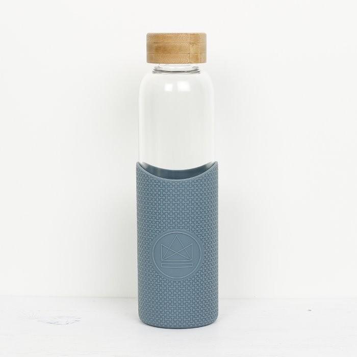 Glass Water Bottle - Twist & Shout - Blue - 550ml