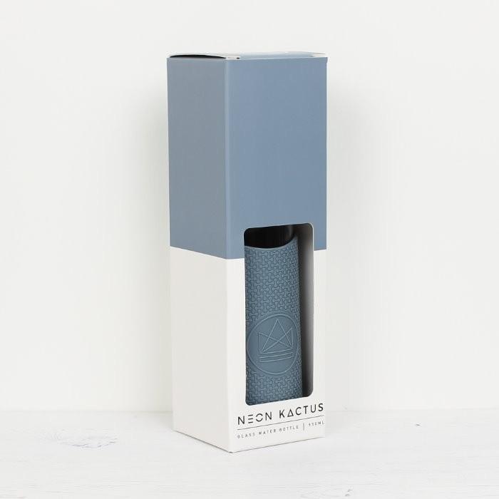 Glass Water Bottle - Twist & Shout - Blue - 550ml - in packaging