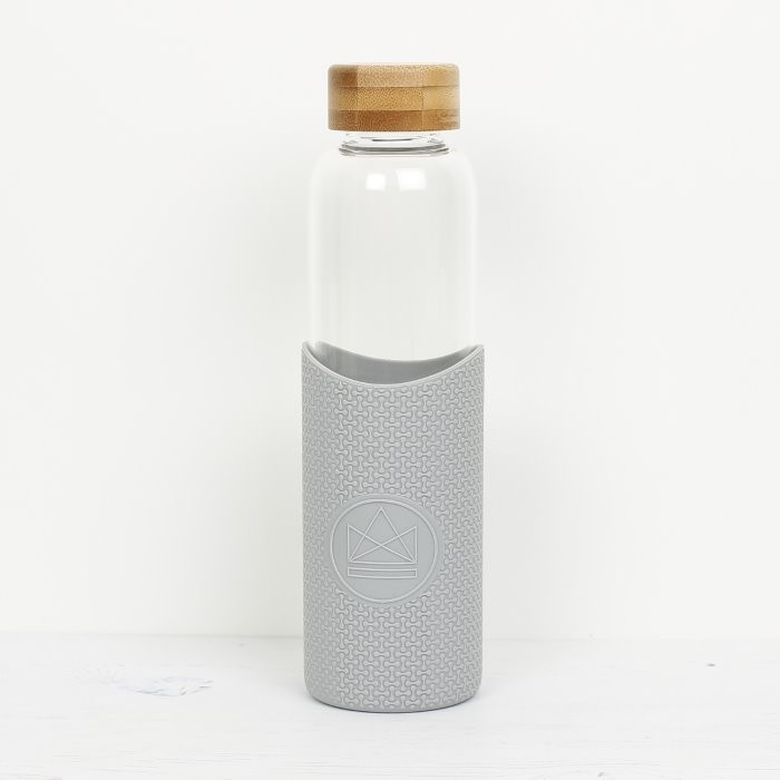 Glass Water Bottle - Cloud 9 - Grey - 550ml