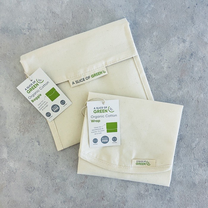 Organic Cotton Baggie and Organic Cotton Sandwich/Food Wrap - Natural - with Swing Tags