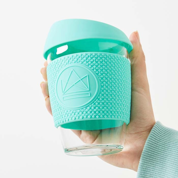 Glass Cup - Free Spirit - Mint - 12oz/340ml - in Use