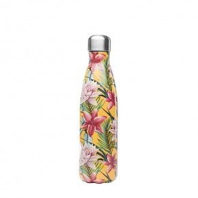 Insulated Stainless Steel Bottle - Tropical Yellow Flowers - 500ml