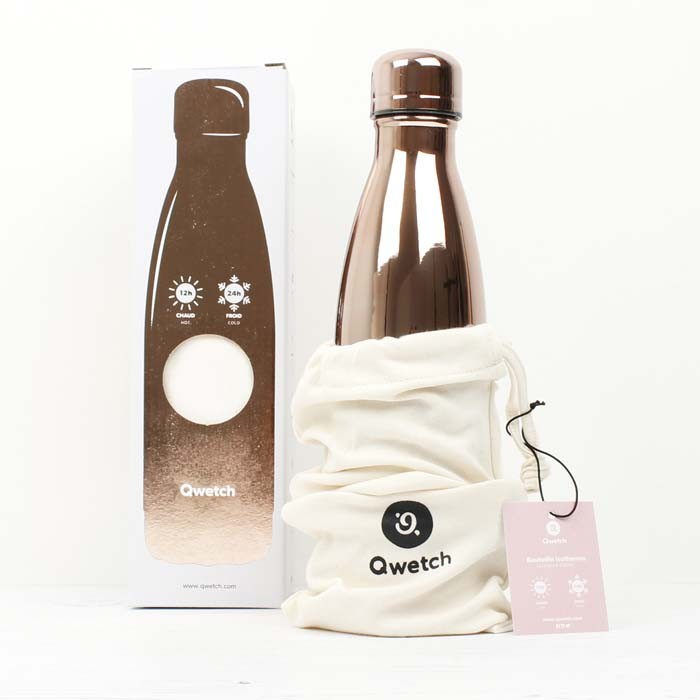 Insulated Stainless Steel Bottle - Rose Gold Metallic - 500ml with box