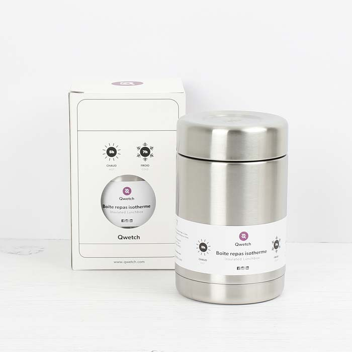 Insulated Stainless Steel Food Jar - Brushed Steel - 340ml