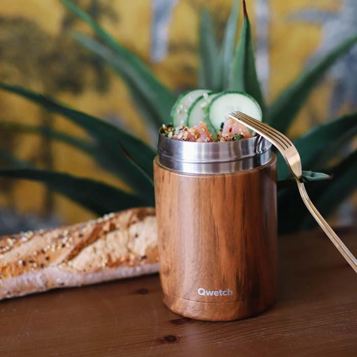 Insulated Stainless Steel Food Jar - Wood - 650ml