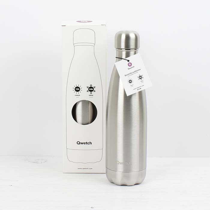 Insulated Stainless Steel Bottle - Brushed Steel - 500ml