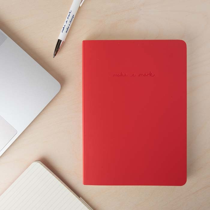 'Make a Mark' A5 Recycled Leather Lined Notebook - Red