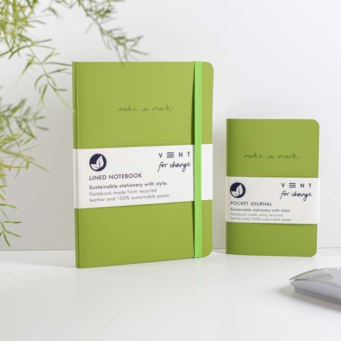 'Make a Mark' Recycled Leather Lined Notebook & Pocket Journal - Green