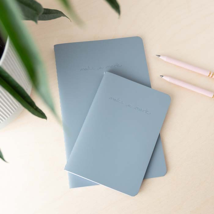 'Make a Mark' Recycled Leather Lined Notebook & Pocket Journal - Dusty Blue