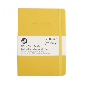 'Make a Mark' A5 Recycled Leather Lined Notebook - Yellow