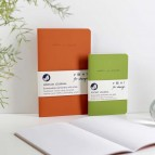 'Make a Mark' Recycled Leather Lined Notebook & Pocket Journal - Orange & Green