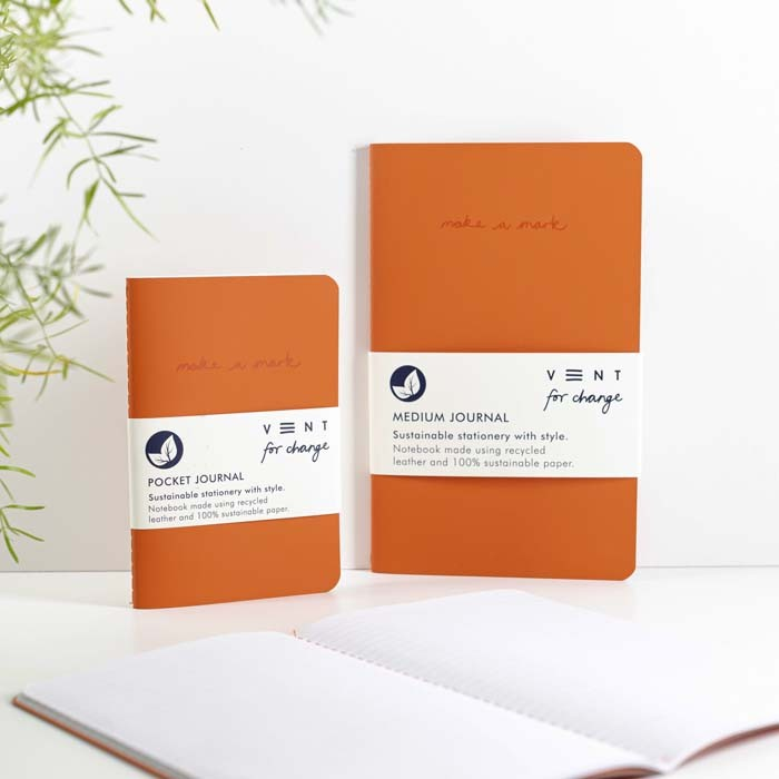'Make a Mark' Recycled Leather Lined Notebook & Pocket Journal - Orange