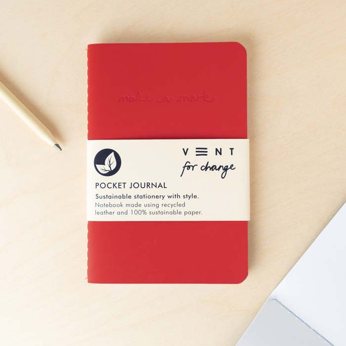 'Make a Mark' Recycled Leather Lined Pocket Journal - Red