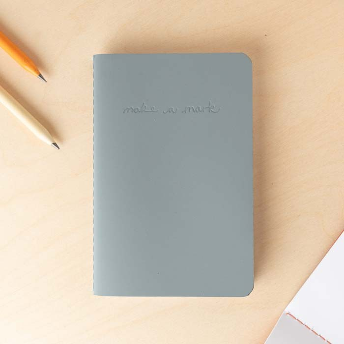 'Make a Mark' Recycled Leather Lined Pocket Journal - Dusty Blue