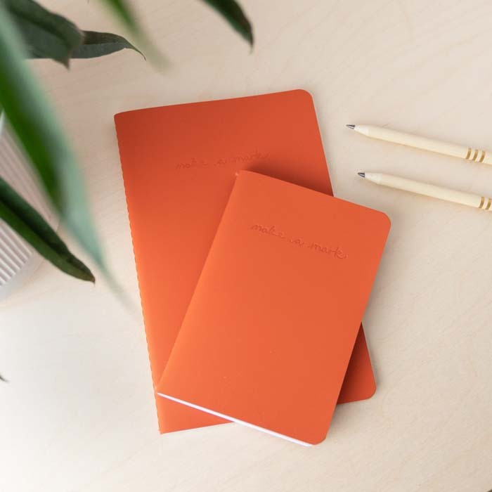 'Make a Mark' Recycled Leather Lined Pocket Journal & Notebook - Orange