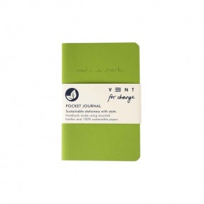 'Make a Mark' Recycled Leather Lined Pocket Journal - Green