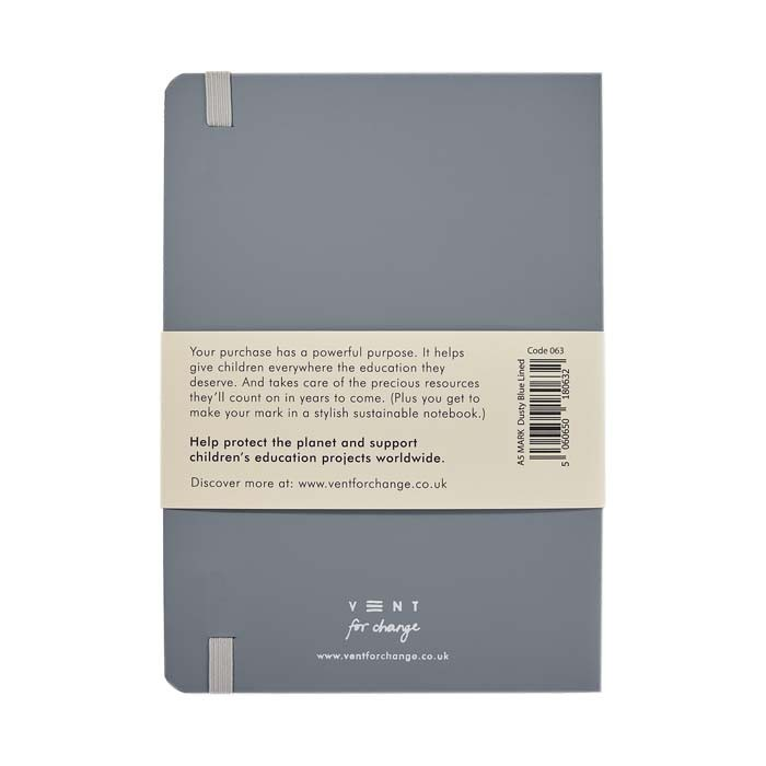 'Make a Mark' A5 Recycled Leather Lined Notebook - Dusty Blue