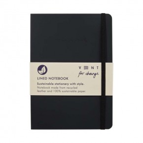 'Make a Mark' A5 Recycled Leather Lined Notebook - Charcoal