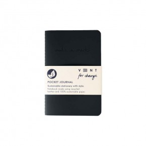 'Make a Mark' Recycled Leather Lined Pocket Journal - Charcoal