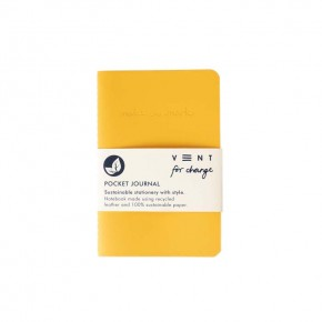 'Make a Mark' Recycled Leather Lined Pocket Journal - Yellow
