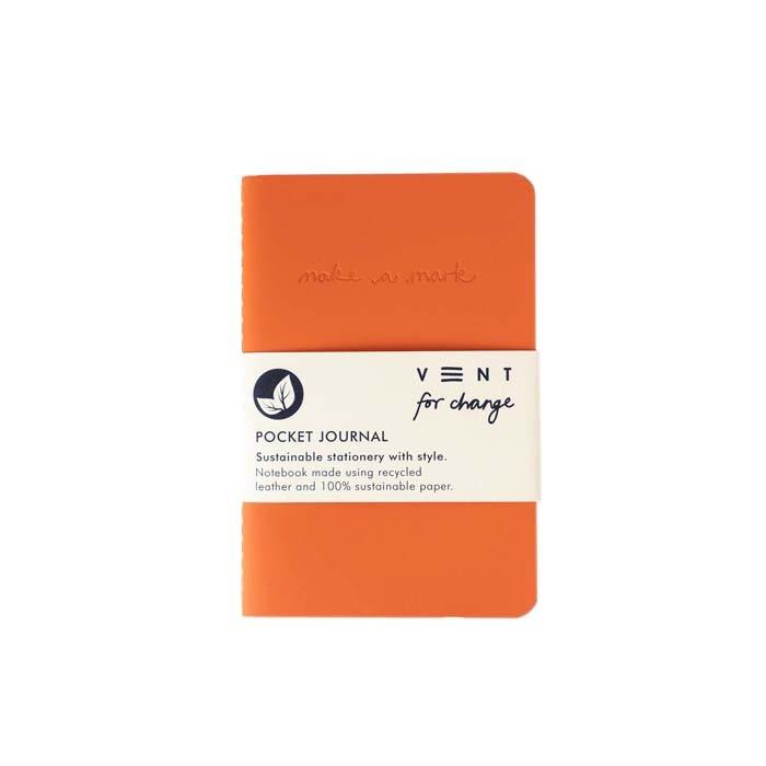 'Make a Mark' Recycled Leather Lined Pocket Journal - Orange