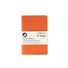 'Make a Mark' Recycled Leather Lined Pocket Journal - Orange