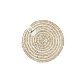 Round Spiral Jute Coaster - Natural/White