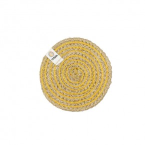 Round Spiral Jute Coaster - Natural/Yellow