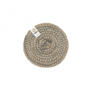 Round Spiral Jute Coaster - Natural/Grey